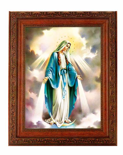 Hirten Our Lady of Grace with Rays Detailed Ornate Antique Mahogany Finished Framed Picture