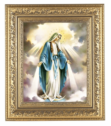 Hirten Our Lady of Grace with Rays on Black Detailed Ornate Gold Leaf Antique Framed Picture