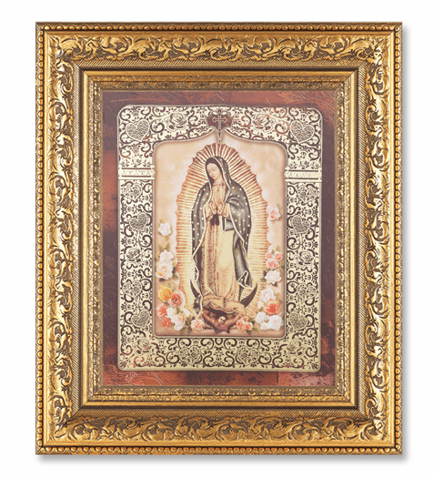 Hirten Our Lady of Guadalup Flowers Detailed Ornate Gold Leaf Antique Framed Picture