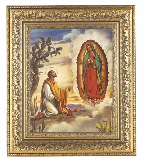 Hirten Our Lady of Guadalupe with Juan Diego Detailed Ornate Gold Leaf Antique Framed Picture