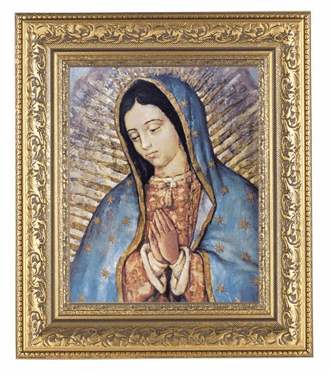 Hirten Our Lady of Guadalupe Bust Detailed Ornate Gold Leaf Antique Framed Picture