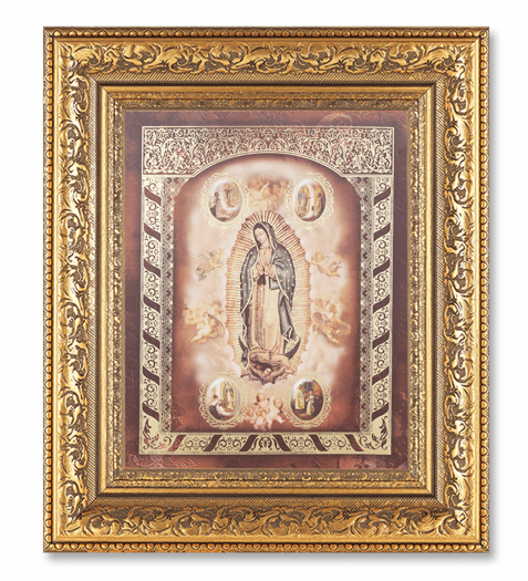 Hirten Our Lady Of Guadalupe with Angels Detailed Ornate Gold Leaf Antique Framed Picture