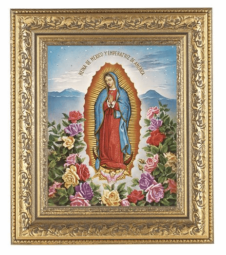 Hirten Our Lady of Guadalupe with Roses Detailed Ornate Gold Leaf Antique Framed Picture