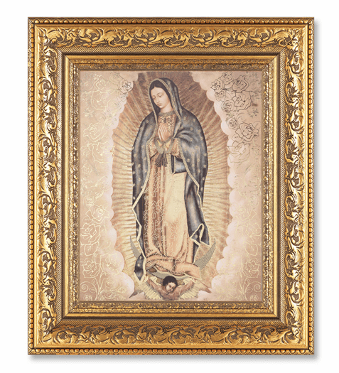 Hirten Our Lady Of Guadalupee Detailed Ornate Gold Leaf Antique Framed Picture