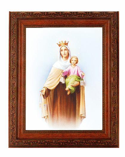 Hirten Our Lady of Mount Carmel Detailed Ornate Antique Mahogany Finished Framed Picture