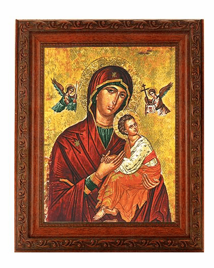 Hirten Our Lady of Passion Detailed Ornate Antique Mahogany Finished Framed Picture