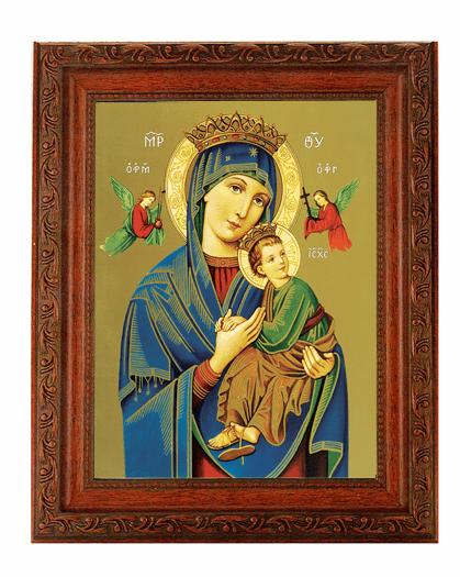 Hirten Our Lady of Perpetual Help Detailed Ornate Antique Mahogany Finished Framed Picture