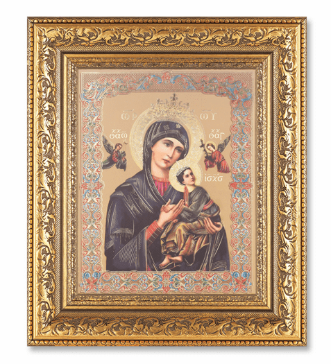 Hirten Our Lady Of Perpetual Help Detailed Ornate Gold Leaf Antique Framed Picture