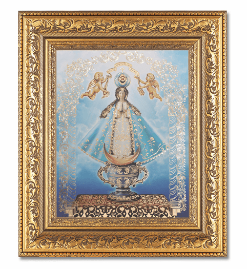 Hirten Our Lady Of San Juan Detailed Ornate Gold Leaf Antique Framed Picture