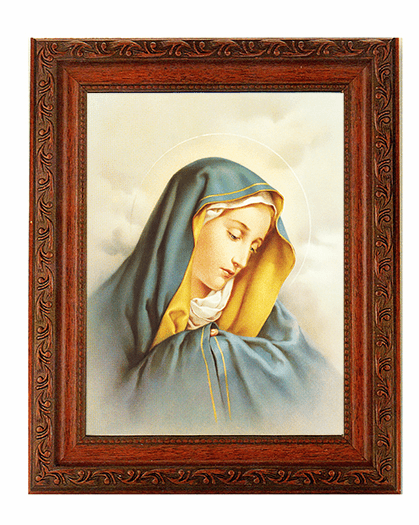 Hirten Our Lady of Sorrows Detailed Ornate Antique Mahogany Finished Framed Picture