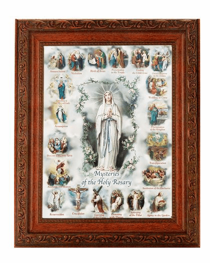 Hirten Our Lady of the Rosary - Mysteries of The Rosary Detailed Ornate Antique Mahogany Finished Framed Picture
