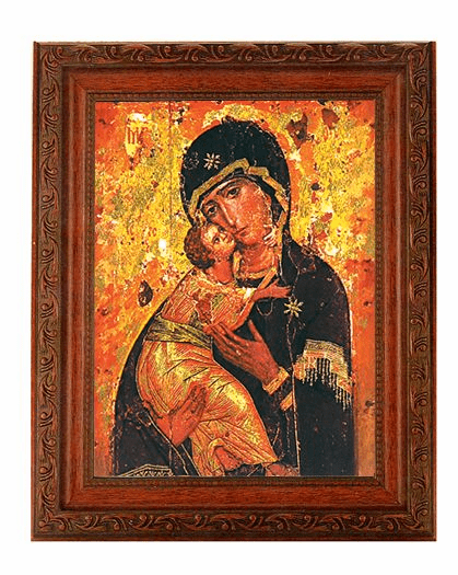 Hirten Our Lady of Vladimir Detailed Ornate Antique Mahogany Finished Framed Picture