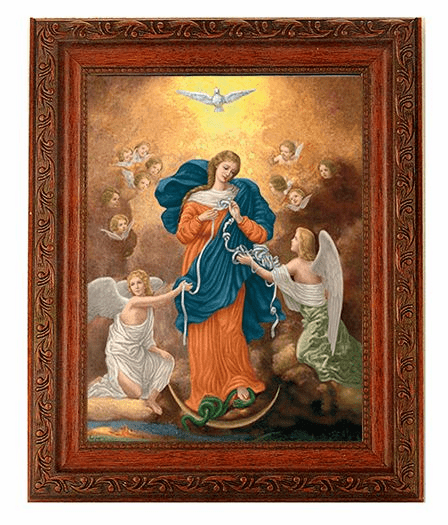 Hirten Our Lady Untier of Knots Detailed Ornate Antique Mahogany Finished Framed Picture