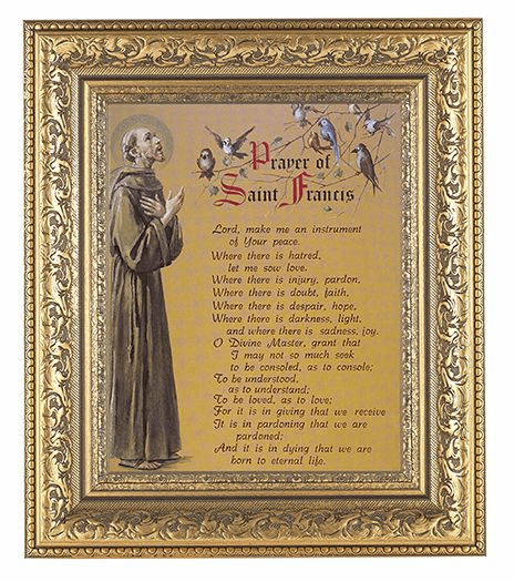 Hirten Prayer to St Francis Detailed Ornate Gold Leaf Antique Framed Picture