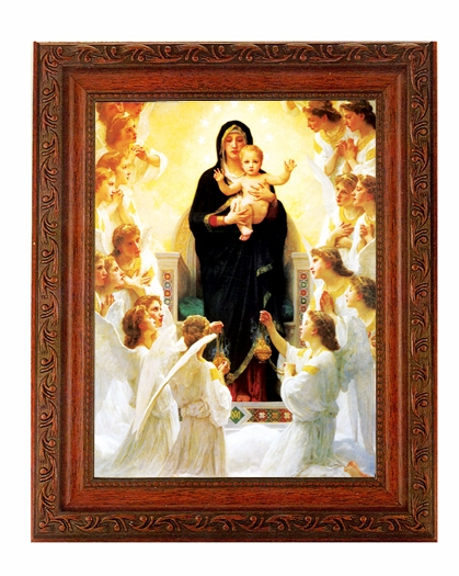Hirten Queen of Angels Ornate Mahogany Framed Picture