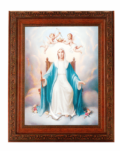 Hirten Queen of Heaven Detailed Ornate Antique Mahogany Finished Framed Picture