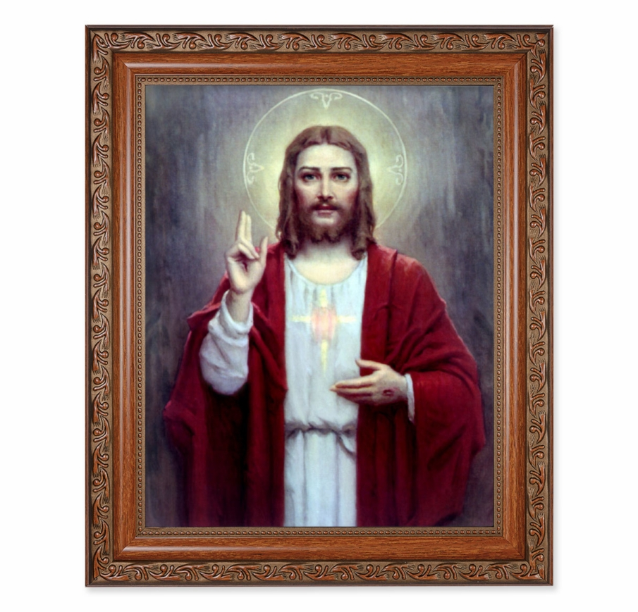 Hirten Sacred Heart of Jesus Chambers Ornate Mahogany Framed Picture