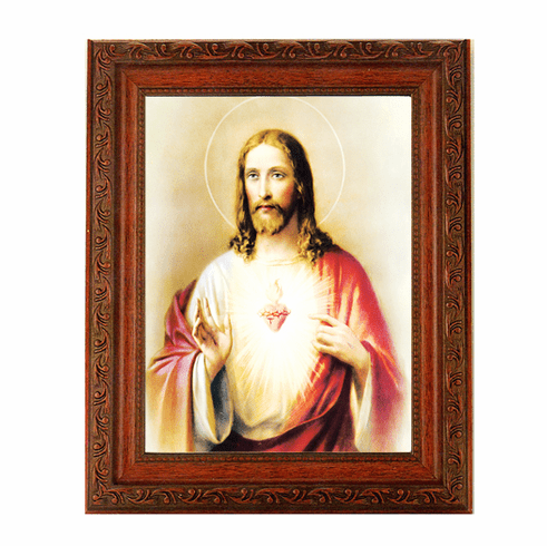 Hirten Sacred Heart of Jesus Ornate Mahogany Framed Picture