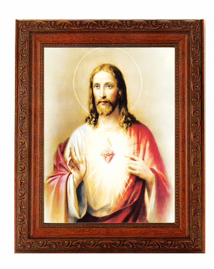 Hirten Sacred Heart of Jesus Detailed Ornate Antique Mahogany Finished Framed Picture