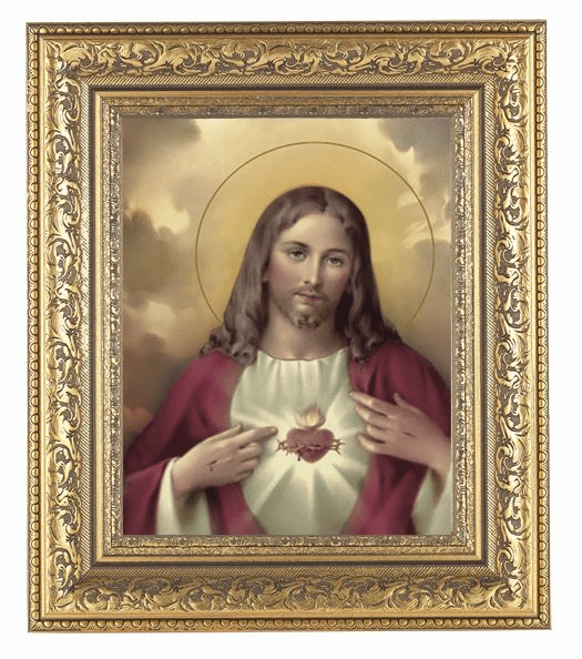 Hirten Sacred Heart of Jesus Detailed Ornate Gold Leaf Antique Framed Picture