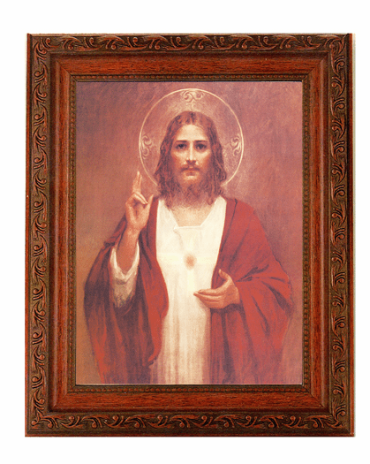 Hirten Sacred Heart of Jesus w/Halo Detailed Ornate Antique Mahogany Finished Framed Picture