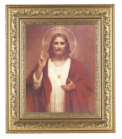 Hirten Sacred Heart of Jesus w/Halo Detailed Ornate Gold Leaf Antique Framed Picture