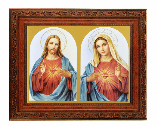Hirten Sacred Hearts Jesus and Mary Detailed Ornate Antique Mahogany Finished Framed Picture