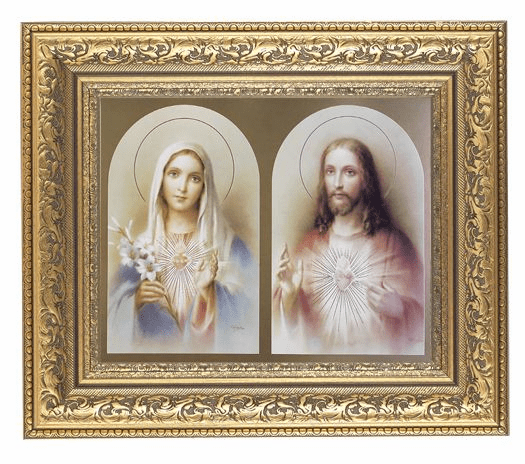 Hirten Sacred Hearts Jesus and Mary Detailed Ornate Gold Leaf Antique Framed Picture