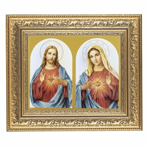 Hirten Sacred Hearts Jesus and Mary Ornate Gold Leaf Framed Picture