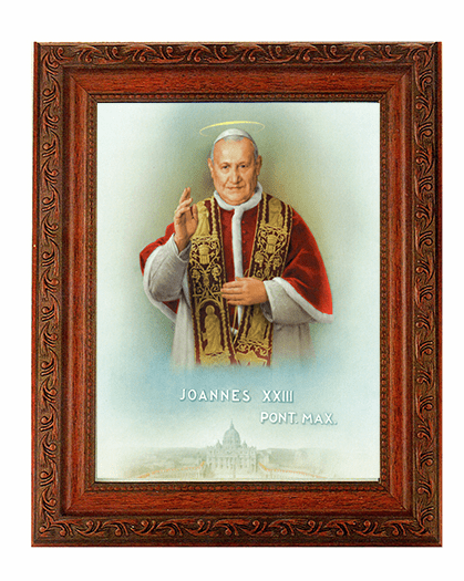 Hirten Saint John XXIII Ornate Mahogany Framed Picture