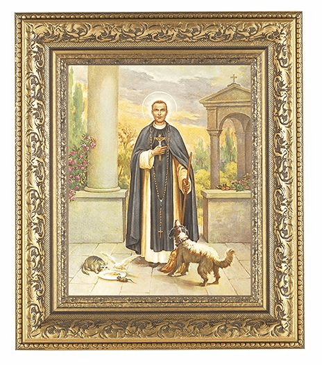 Hirten Saint Martin Deporres Detailed Ornate Gold Leaf Antique Framed Picture