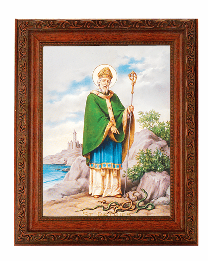 Hirten Saint Patrick Detailed Ornate Antique Mahogany Finished Framed Picture