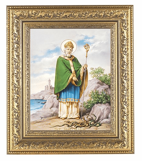 Hirten Saint Patrick Detailed Ornate Gold Leaf Antique Framed Picture