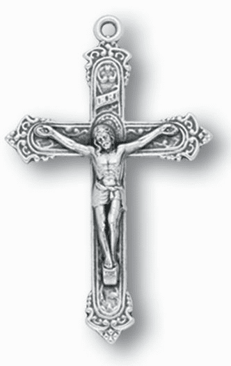 Hirten Silver OX Fancy Crucifix Rosary Making Parts