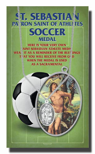 Hirten Soccer Female St Sebastian Athlete Sports Necklace with Prayer Card