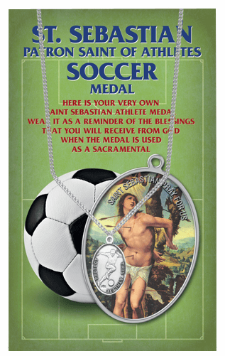 Hirten Soccer Male St Sebastian Athlete Sports Necklace with Prayer Card
