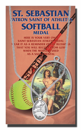 Hirten Softball Female St Sebastian Athlete Sports Necklace with Prayer Card