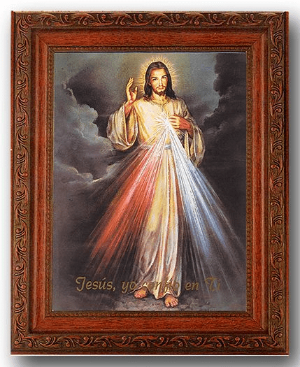 Hirten Spanish Divine Mercy  Detailed Ornate Antique Mahogany Finished Framed Picture