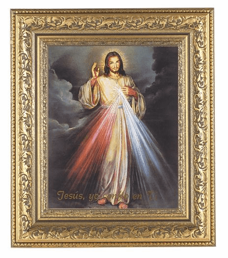 Hirten Spanish Divine Mercy  Detailed Ornate Gold Leaf Antique Framed Picture
