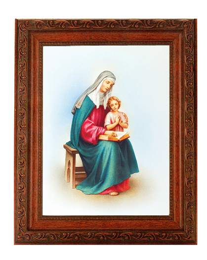 Hirten St Anne with Mary Detailed Ornate Antique Mahogany Finished Framed Picture