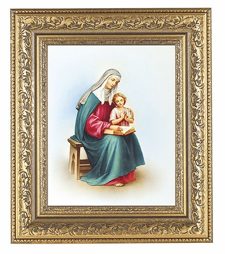 Hirten St Anne with Mary Detailed Ornate Gold Leaf Antique Framed Picture