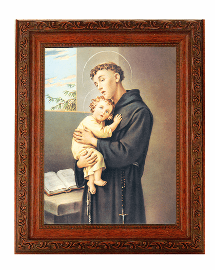 Hirten St Anthony with Child Jesus Detailed Ornate Antique Mahogany Finished Framed Picture