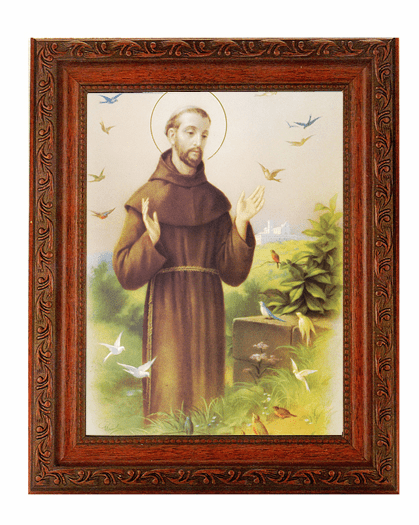 Hirten St Francis Detailed Ornate Antique Mahogany Finished Framed Picture