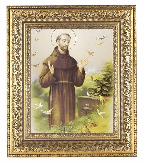 Hirten St Francis Detailed Ornate Gold Leaf Antique Framed Picture