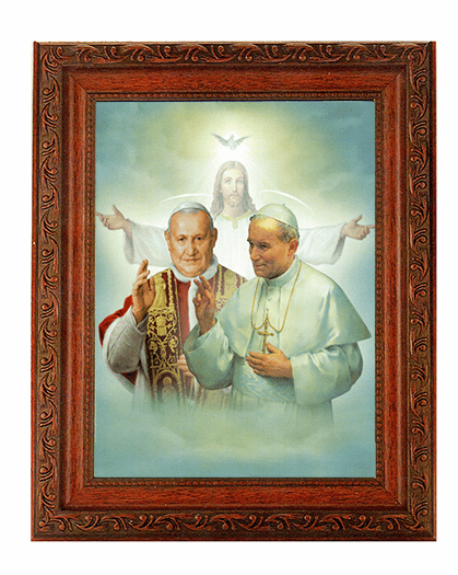 Hirten St John XXIII and St John Paul II Detailed Ornate Antique Mahogany Finished Framed Picture