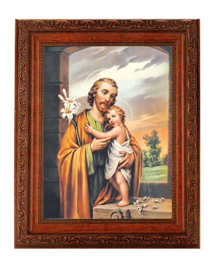 Hirten St Joseph with Child Jesus Detailed Ornate Antique Mahogany Finished Framed Picture