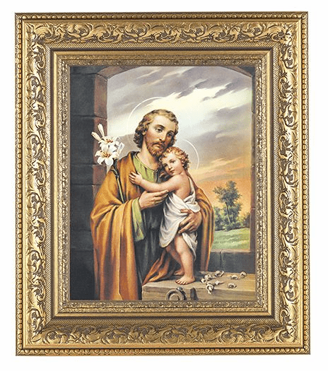 Hirten St Joseph with Child Jesus Detailed Ornate Gold Leaf Antique Framed Picture