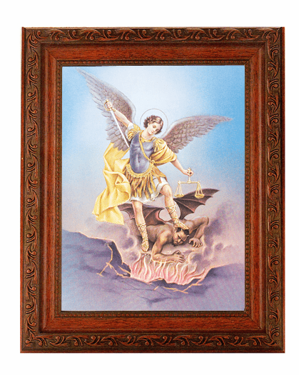 Hirten St Michael Archangel Detailed Ornate Antique Mahogany Finished Framed Picture