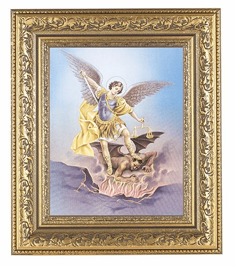 Hirten St Michael Archangel Detailed Ornate Gold Leaf Antique Framed Picture
