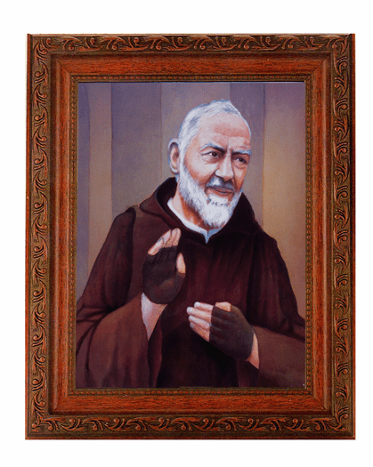 Hirten St Pio of Pietrelcina Detailed Ornate Antique Mahogany Finished Framed Picture